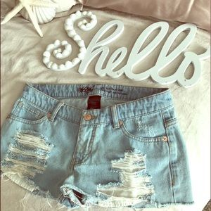 Mossimo Low Rise Ripped Jean Shorts